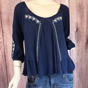 Double Zero Top Ruffle Hem Embroider Blue Large